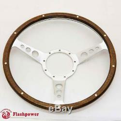 14 '' Steering Wheel Classic Riveted Wood Grain Catering For Mg Mgb Midget