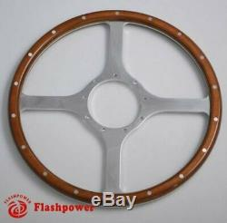 15 '' Steering Wheel Classic Riveted Wood Grain Catering For Mg Mgb Midget
