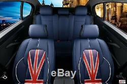 For Mini Cooper Blue Imitation Leather Deluxe Complete Set Covers Seat Jack Flag