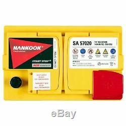 Hankook 12v 70ah Agm Start Stop Start Car Battery 277x174x190mm