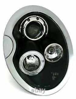 Hlavný Svetlomet For Bmw For Mini Cooper R50 R52 R53 01-06 Angel Eyes Black Lp