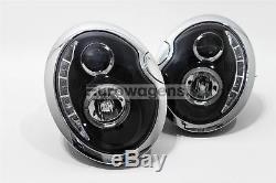 Mini Cooper One R50 01-06 Black Led Drl Headlights Angel Eyes Set Pair