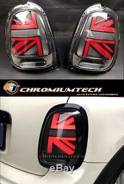 Mk3 F55 F56 F57 Mini Cooper 3d Red Tail Black Union Jack (one Pair)