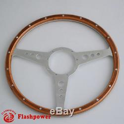 Riveted Wood Classic 13 '' Wheel For Mini Mg Vintage Triumph Golf Semi Domed