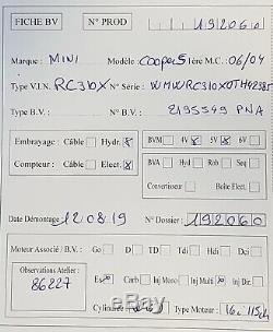 Transmission 5-speed Mini One / Cooper 1.6i 115hp Until June 2004 86,227 Km