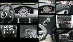 Chrome Intérieur Cadran Kit Pour 2001-2006 BMW Mini Cooper/S / One R50 R52 R53