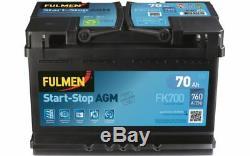 FULMEN Batterie de démarrage 70ah / 760A Pour NISSAN QASHQAI AUDI A3 Q3 FK700