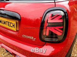 MK3 Mini Cooper F55 F56 F57 3D Rouge Noir Union Jack Feux Arrière (One Paire)